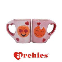 Lovely Emoji Print Pink Couple Ceramic Mug