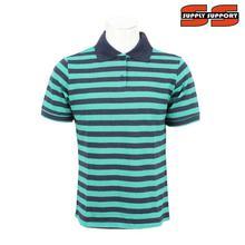 Blue/Cyan Striped 100% Cotton Polo T-Shirt For Men