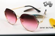 GREY JACK Peach color Lens With Gold Metal Frame Sunglasses For Women & Men