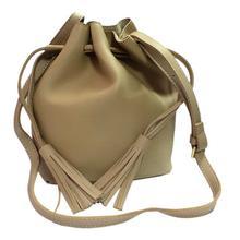 Cream Plain Tassel Design Pouch Sling Bag For Women