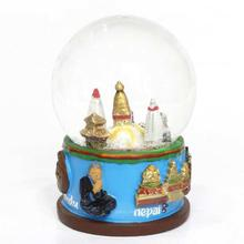Swayambhunath Glass/Ceramic Snow Globe - Blue