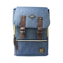 Steel Blue Multi Zippered Flap Unisex Backpack- 6001