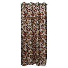 Multi Orange Floral Long Crush Patch Curtains