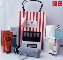 Miniso Gift Combo For Him- Hand Cream, Water Bottle, Alarm Clock, Perfume, Ceramic Mug with Gift Bag / Birthday Gift