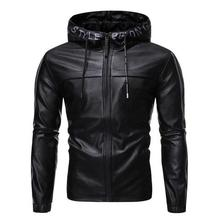 Men's Fashion Hooded PU Leather Jacket