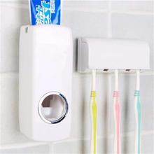 White Automatic Toothpaste Dispenser With 5 Toothbrush Holder Set