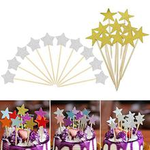 30pcs Glitter Paper Star Cake Toppers Twinkle Cake Decoration Party