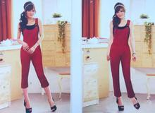 Red Rocky Cotton Jumpsuit For Women