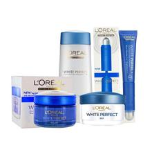 L'Oreal Combo Of White Perfect Skin Care Essentials (Day & Night Cream, Eye Cream, Toner) - Set Of  4