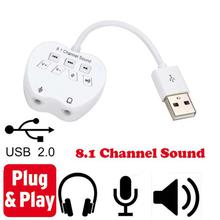Sound Card Adapter 8.1 Channel USB External 3D Audio Sound Card Adapter For PC Laptop