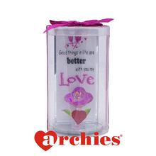 Good Things in Life are Better with you my Love, Purple Rose Love Heart Showpiece