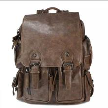 Top Quality Brand Fashion Genuine Leather  Backpacks Preppy Style Unisex  Backpack  Coffee / Brown (WATERPROOF)