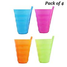 Multicolor Plastic Glass Sipper (Pack of 4 pcs Set)