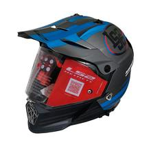 LS2 Pioneer Quaterback Full Helmet [Matt Black/ Blue]