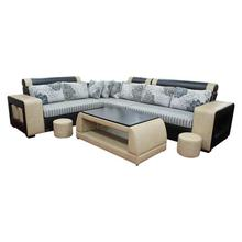 Sunrise Furniture HS-011 L-Shape Wooden Sectional Sofa With Tea Table - Black/OffWhite