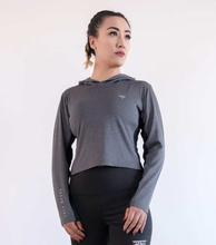 Yala Wears Grey Women's Hooded Long Sleeve (Crop Top)
