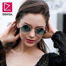 DENISA Retro Round Sunglasses Women Men Fashion Steampunk