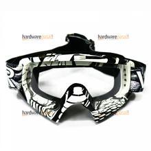 White Black Design Dirt Helmet Transparent Goggles