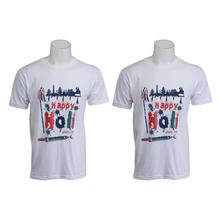 Combo of 2 White Holi Themed Round Neck Unisex T-Shirt