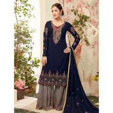 Stylee Lifestyle Navy Blue Georgette Embroidered Dress Material (1785)