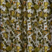Multi Yellow Floral Long Crush Patch Curtains
