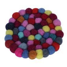 Pack Of 6 Multicolored Round Felt Coaster