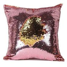 Pink And Golden Sequin Embellished Cushion