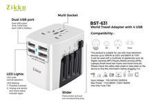 Zikko Worldwide Travel Adaptorr 4 USB Ports