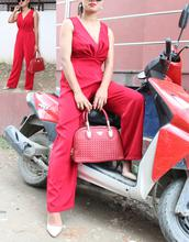 Red Sleeveless Jumpsuit for Women
