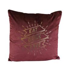 Eat, Drink and Love  Printed Square Shape Cushion With Cover