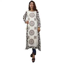 Melange Beige Printed Double Layered Khurti