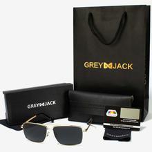GREY JACK Golden Framed Polarized Black Square Aviator Sunglasses (Unisex)