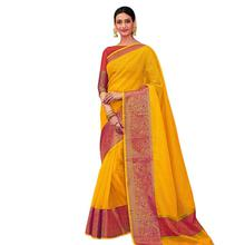 Stylee Lifestyle Yellow Banarasi Silk Jacquard Saree  (1803)