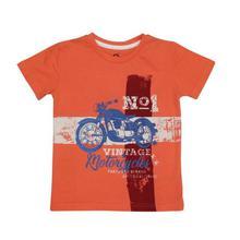 Orange Vintage Motorcycle Printed Cotton T-Shirt For Boys - (GC GREW 43)