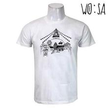 White 'Bouddha' Printed Cotton T-Shirt For Men