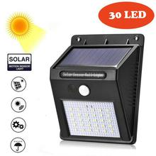 30 LED Black Solar Powered Bright Motion Sensor Light