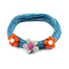 Blue Floral Designed Hairband For Women
