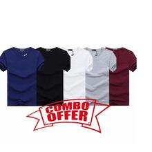 Hifashion- 5 in 1 Combo Round Neck Cotton T-shirt