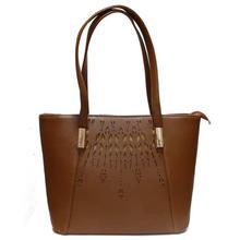 Brown Printed Handbag For Women