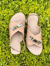 Theea Nude Studded Slingback Sandals For Women