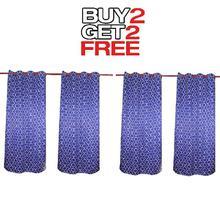 Curtains Buy 2 Get 2 Free [4pcs] [Ring Design] -Blue