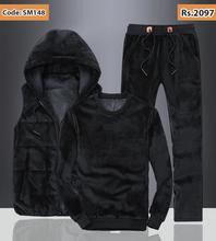 Men Fashion 3pc Velvet Tracksuit Set