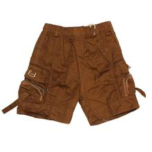 Black Cat Brown Zippered Pockets Shorts For Baby Boys - BCKG1740