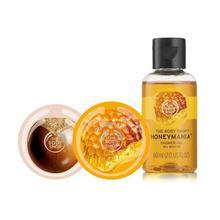 The Body Shop Combo Of Honeymania Bath Essentials (Body Butter, Body Scrub and Shower Gel) - Set Of  3
