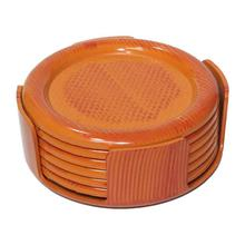 Brown Plastic Coaster Set - 6 Pcs