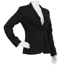 Black Striped Formal Coat For Women