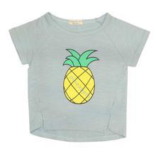 Grey/Yellow Pineapple Printed T-Shirt For Girls