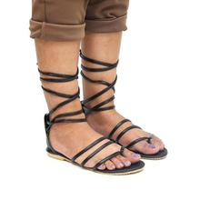 Black Solid Strappy Ankle Strap Sandal For Women
