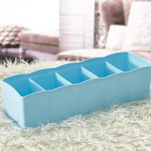 1Pc Plastic Five Grid Drawer Organizer Socks Storage Box Multi-function Desktop Underwear Jewelry Cosmetics Makeup Storage Box