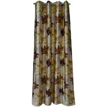 Digital Print Curtains With Brown Floral Patterns